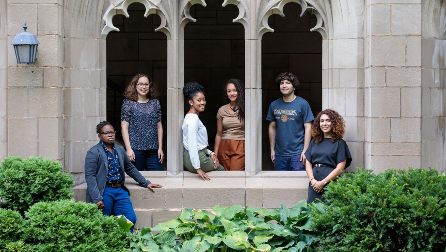 The new faculty include, from left, C. Riley Snorton, Sophie Salvo, Kaneesha Parsard, Sarah Johnson, Erik Zyman, and Sophia Azeb.