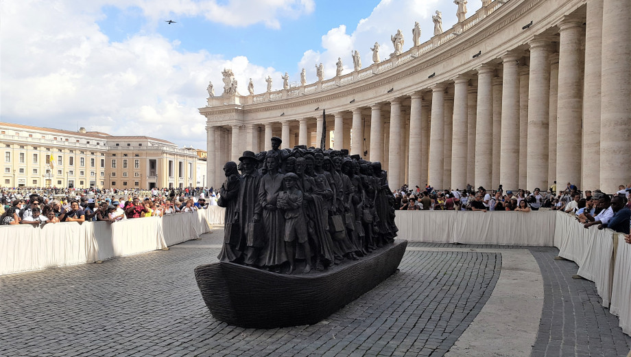 Angels Unaware, a sculpture by Timothy Schmalz depicting migrants throughout history, was unveiled in St. Peter's Square in September 2019.
