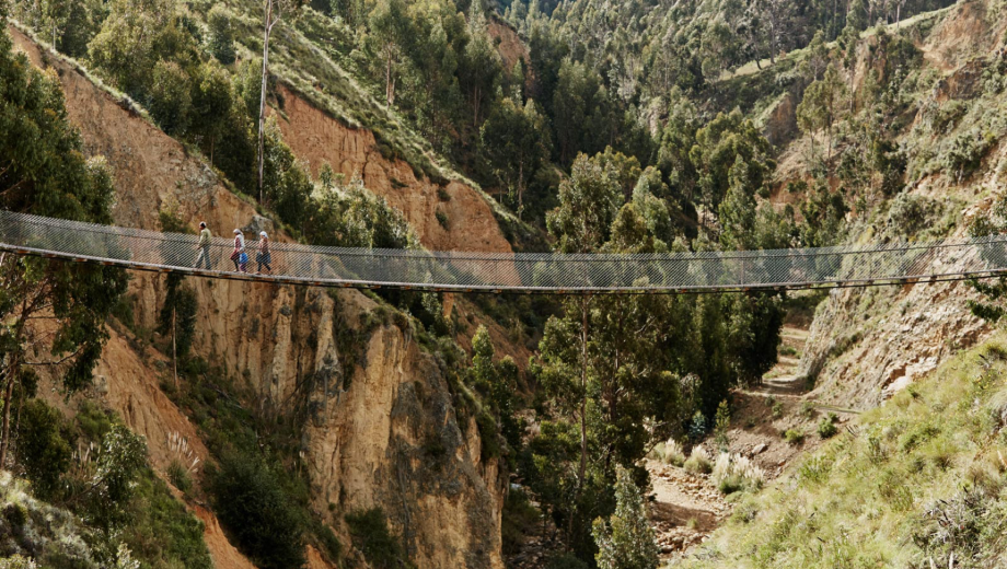 Bridges to Prosperity, where Alissa Davis is director of business development, helps build bridges in remote areas like this one in Bolivia.