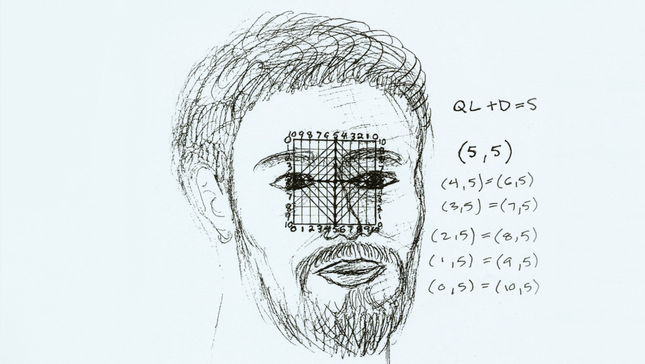 """Self-Portrait with Grid, a sketch by Gabriel Mitchell, appears in """"Mental Traveler."""""""
