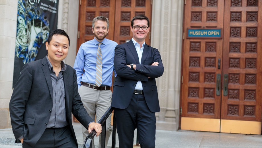 John Wee, James Osborne, and Hervé Reculeau bring experience in Assyriology and archaeology to UChicago. Not pictured: Ghenwa Hayek and Susanne Paulus.