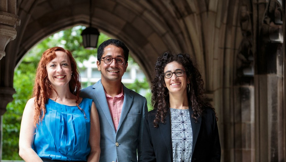 New faculty members Rachel Galvin, Edgar Garcia, and Salomé Skvirsky.