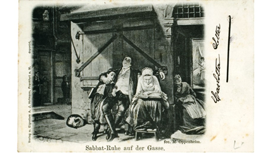 Postcard with a scene of everyday Jewish life