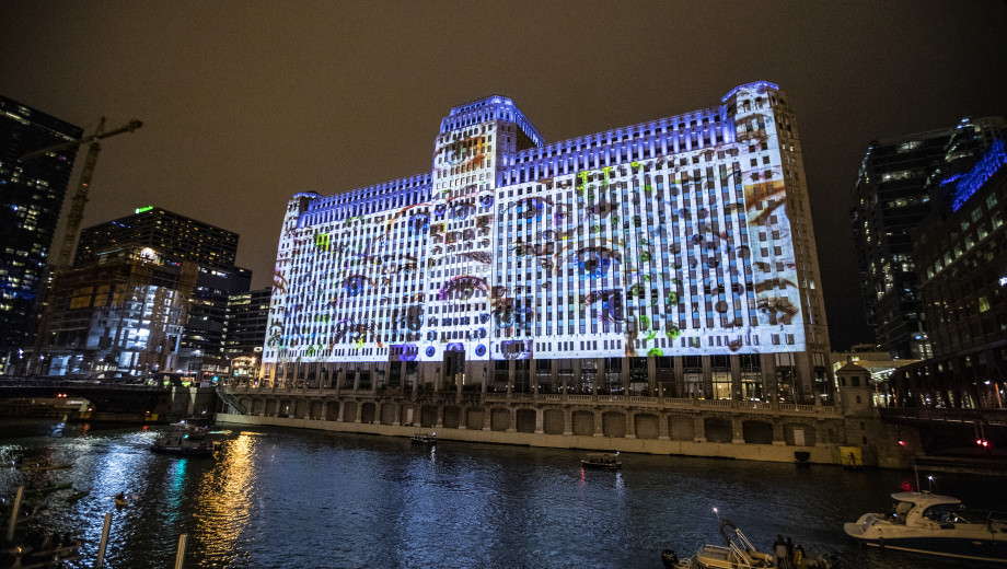 Jason Salavon projects a multitude of stories on Chicago's Merchandise Mart.
