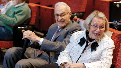 Melvin (1929–2019) and Randy Berlin attend the 2019 Berlin Family Lectures.